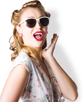 woman with red lips and white glasses
