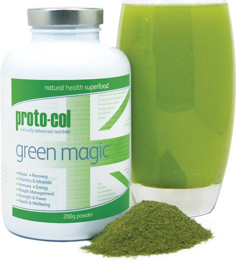 green magic jar with powder